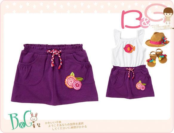 【B& G童裝】正品美國進口Crazy8 刺繡花圖樣口袋紫紅色短裙18-24mos