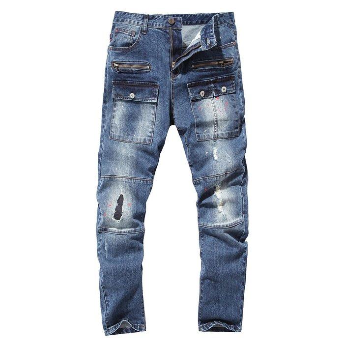男士牛仔褲2017破洞男士牛仔褲端精品純棉牛仔長褲多口袋點漆Y609 牛仔牛仔褲