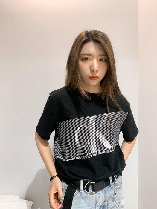 【蟹老闆】CK Calvin Klein 100%正品 男生短袖 長方膠大CK 黑色
