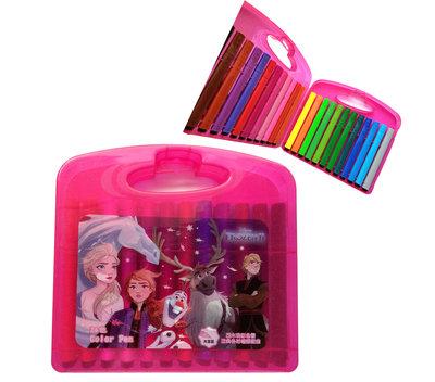 【卡漫迷】 冰雪奇緣 彩色筆 24色 桃紅 ㊣版 手提盒 大容量 三角筆 水性 Frozen 艾莎安娜 美術用品 水洗筆