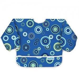 【小糖雜貨舖】美國 Bumkins Sleeved Bib 防水防臭長袖圍兜口水巾 (藍色普普SU-430)