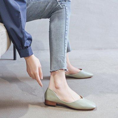 Venaessa韓國現貨女鞋淺口黑色工作鞋單鞋女平底2020年夏季新款豆豆鞋一腳蹬英倫小皮鞋