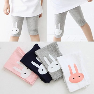 【夏款特賣】女童 中小童 韓版【Q寶童裝】夏款 BK-962 卡通兔子印花內搭褲 五分褲