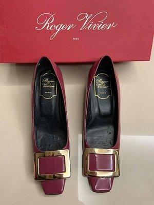 Roger Vivier RV 45MM 紫色 經典 漆皮 方頭鞋