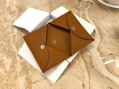 [已售出 可排候補]全新未使用 Hermes Calvi Cardholder 名片夾 卡夾 金棕色 37Gold Epsom