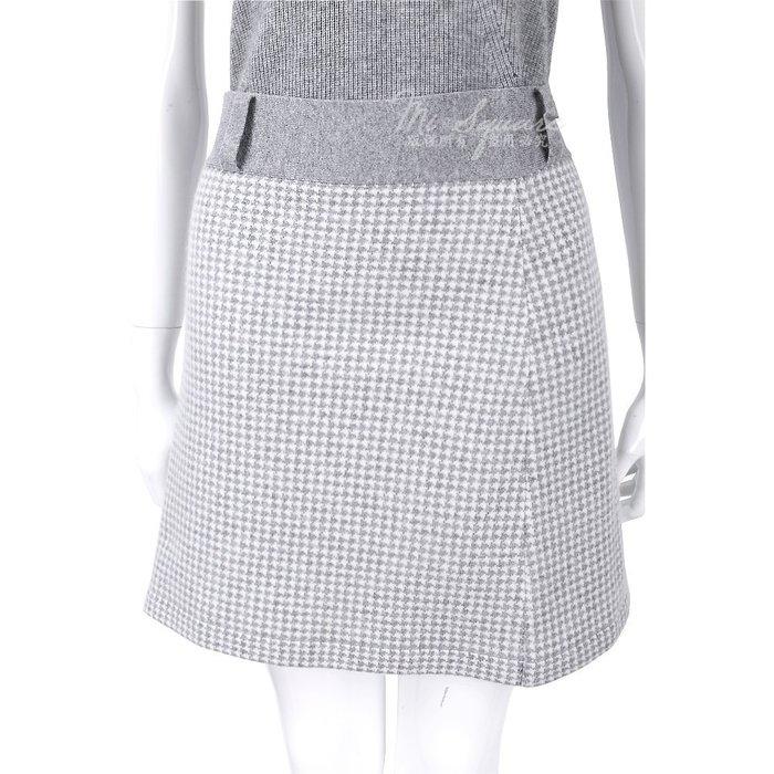 米蘭廣場 ALLUDE 70% LANA 淺灰色千鳥紋羊毛及膝裙 1540647-D7