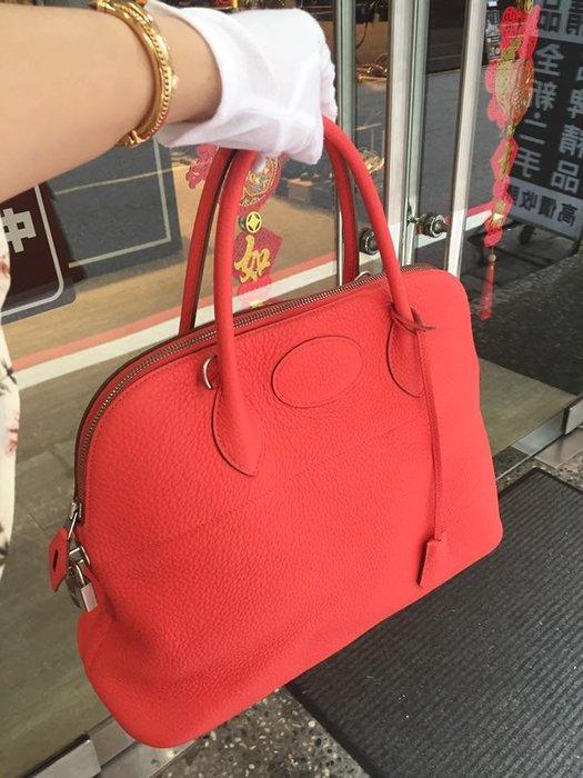 典精品名店 Hermes 真品 T5 Rose Jaipur Bolide 柏麗包 35cm 手提包 肩背包 R 現貨