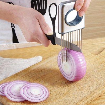 去皮器切洋蔥輔助器不銹鋼廚房切菜神器切檸檬片器鬆肉針固定切片器護手BTJS14694