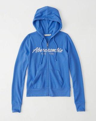 Maple麋鹿小舖 Abercrombie&Fitch * AF 寶藍色電繡字母連帽外套 * ( 現貨M號 )