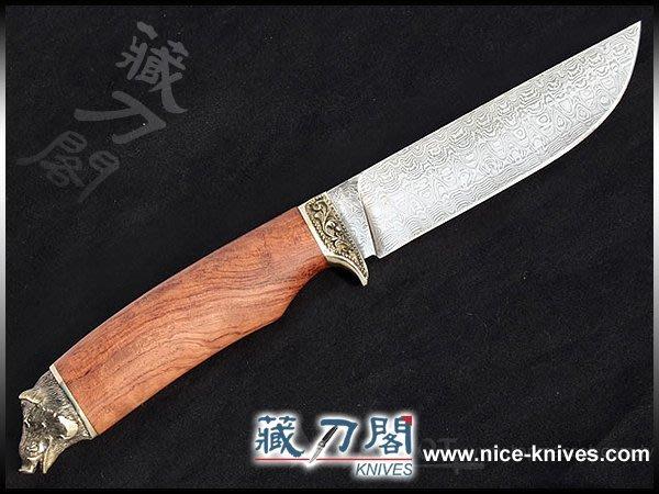 《藏刀閣》歐美手工刀-濠豬-鎳銀雕刻直刀(紅木柄)