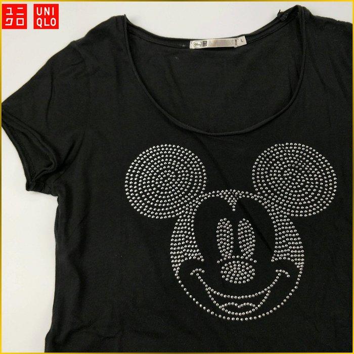 日本二手衣✈️UNIQLO 中長版 Micki Mouse 鉚丁 短袖T恤 休閒短T 優衣庫 女裝 *M* A1307U