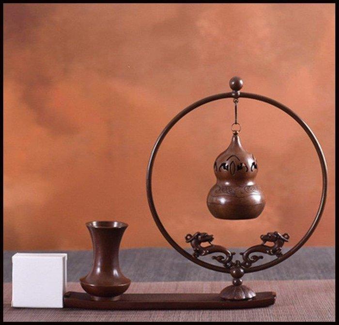 哆啦本鋪 純銅倒流香爐家用室內創意擺件居室花瓶鏤空香爐盤香熏球裝飾大號D655