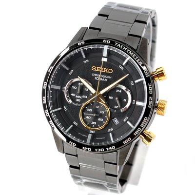 SEIKO SSB363P1 精工錶 46mm 50週年限定 三眼計時 黑面盤 黑鋼錶帶 男錶女錶