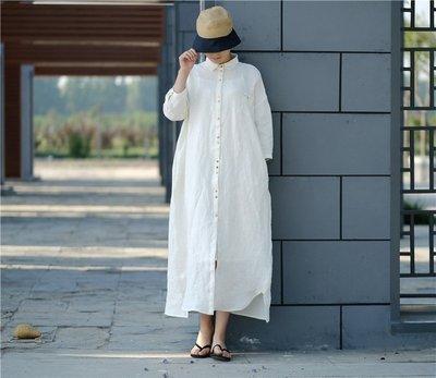秋裝設計款高密度純亞麻寬鬆襯衫式連衣裙(老銀屋)