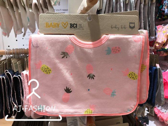 ☆AJ.FASHION☆ 代購歐美 cotton on baby 可愛粉色 鳳梨 超吸水 口水巾 圍兜