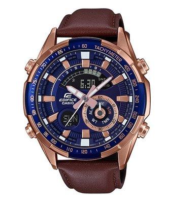 【eWhat億華】CASIO EDIFICE 沉穩時尚皮革錶帶雙顯手錶 ERA-600GL-2A ERA-600GL 平輸 現貨 【2】