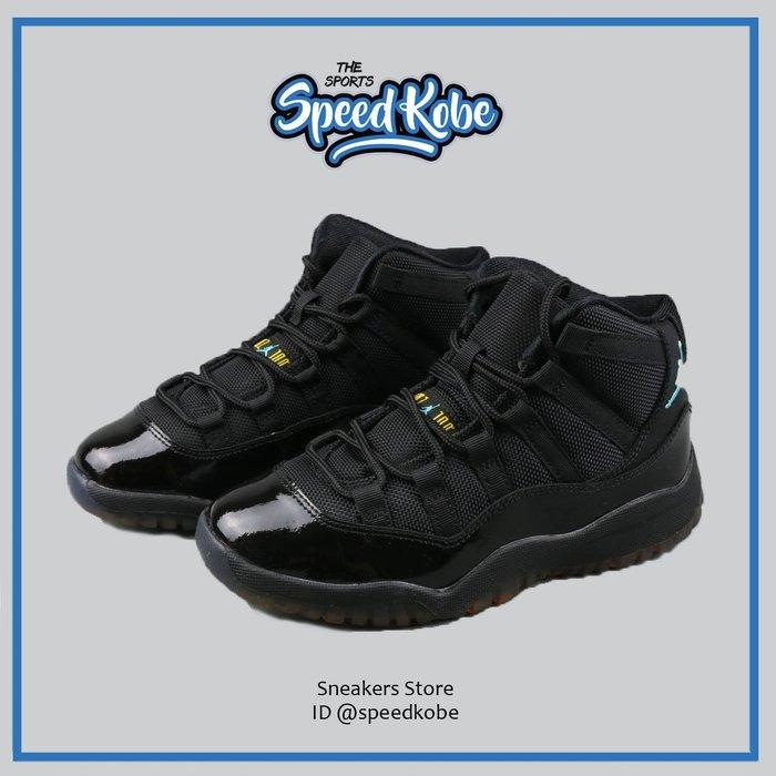 Nike 休閒鞋 Jordan 11 全黑 黑藍 Retro GUMMA BLUE 中童 378039-006 -SP-
