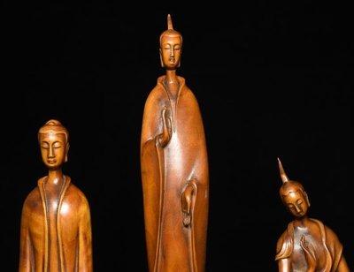 ㊣姥姥的寶藏㊣收藏級 回流舊藏 老件黃楊木精雕 【北魏佛一套】(非樟木充當)