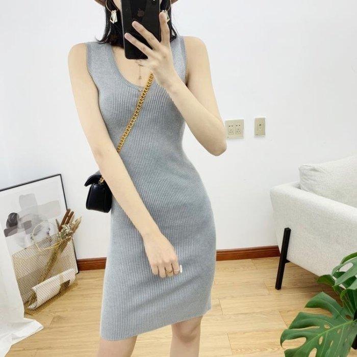 洋裝 新款修身針織連身裙包臀顯瘦打底吊帶裙中長款無袖背心裙