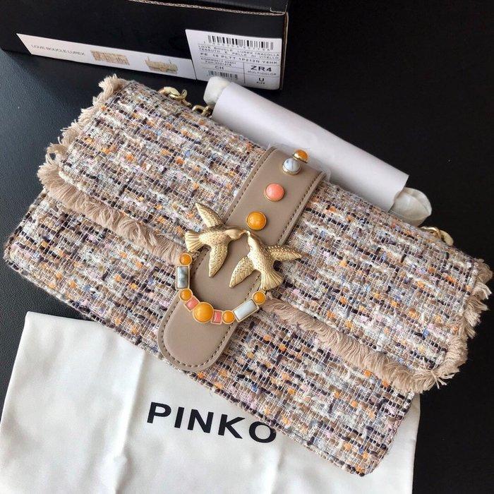 Melia 米莉亞代購 19ss PINKO 燕子包 斜背包 鍊條包 風琴包 小香風 亞麻復古 彩色石 大號