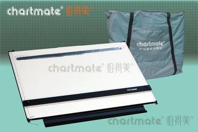 chartmate 恰得美 製圖桌:173PR-90WPA1加大攜帶式圖板平行尺65*90cm左邊印有水平基準線