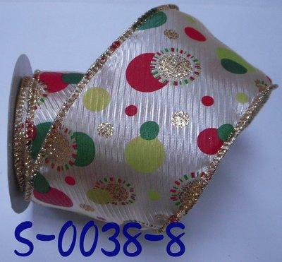 圓點印刷拷克帶【S-0038-8】~Janes Gift~Ribbon
