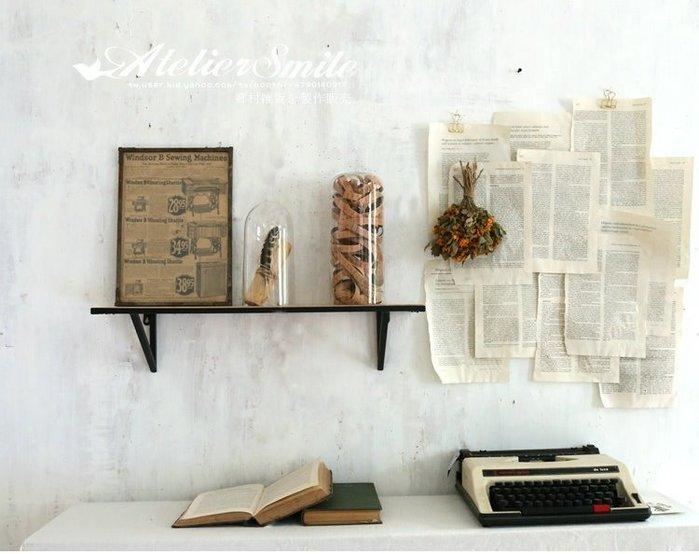 [ Atelier Smile ] 鄉村雜貨 日本直送 復古作舊 鐵製壁掛架 層架 置物架 一字隔板 杉木 (現+預)