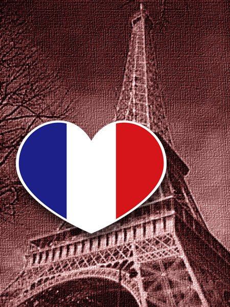 【國旗貼紙專賣店】法國愛心形旅行箱貼紙/抗UV防水/多國款可收集和客製