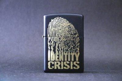 ONE*$1~美系*ZIPPO*Identity Crisis『指紋』霧黑/局部烤漆加工*編號:28295