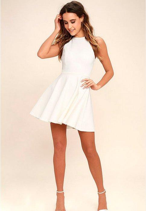 現貨供應[881064]小資平價禮服坊-韓版氣質顯瘦款掛脖露背吊帶洋裝-純真白
