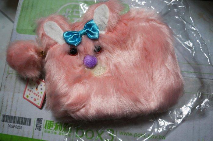 瘋日本-SWIMMER雜貨-粉紅毛毛狗- 可愛長毛 拉鏈收納包/化妝袋-出清價240元