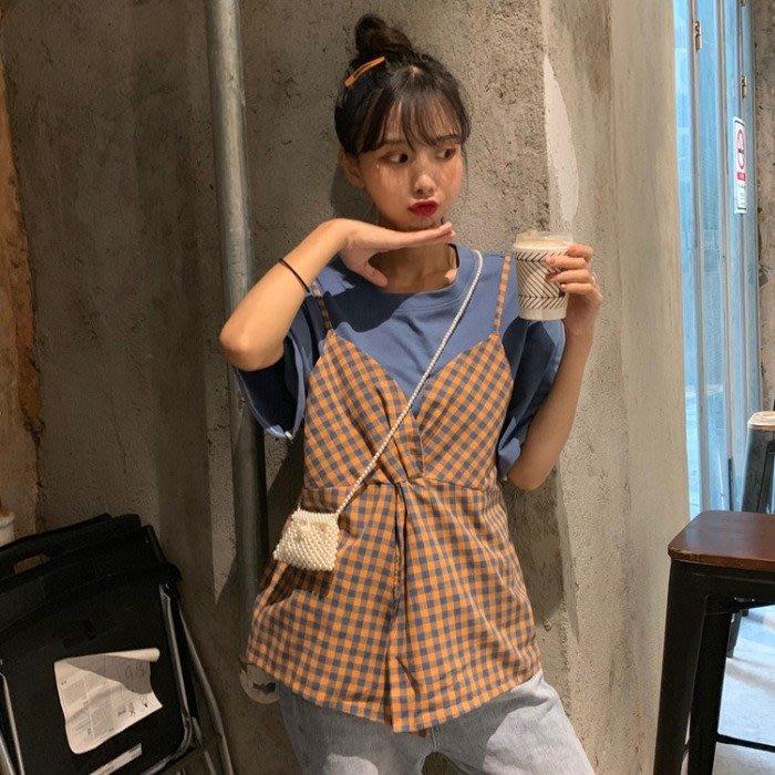 小香風 短袖T恤 時尚穿搭 韓版 寬松 顯瘦 格子上衣網紅蝴蝶結假兩件ins短袖T恤女