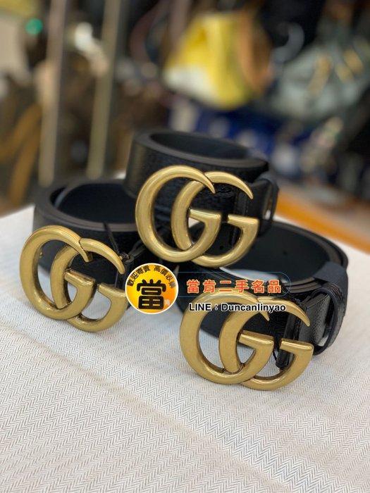 《當肯二手名品》GUCCI 新款 黑色 雙G LOGO 寬版 四公分 皮帶 95 cm ㊣ 406831