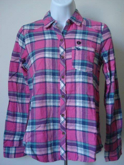【天普小棧】A&F abercrombie plaid shirt長袖格紋襯衫KIDS L號