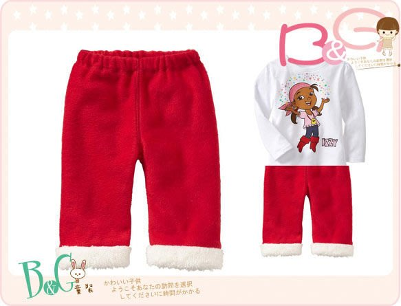 【B& G童裝】正品美國進口OLD NAVY  紅色軟刷毛長褲18-24mos