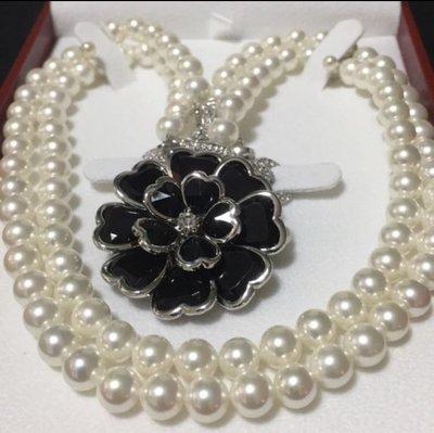 Batino 7mm 珍珠項鍊 配 水晶扣 山茶花扣 單鏈雙鍊多用途 送禮佳品 母親節禮物 Misaki Tiffany 款