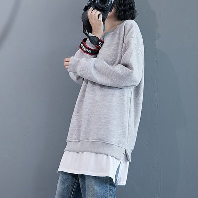 韓 百搭寬鬆撞色拼接假兩件圓領棉T恤  韓氣質女上衣  S3006 舒服 自在