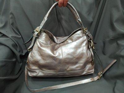 【七彩魚】RABEANCO  銀灰色手提包  長帶側背斜背      二手包