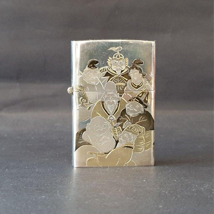 ONE*$1~*日本製*950純銀*名師雕刻《七福神*珍藏版》煤油打火機*兩面加工*蝕刻