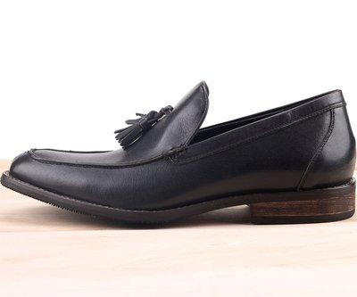 Ovan 男款 歐美流蘇雅痞時尚 木紋跟 MIT手工質感皮鞋 牛津鞋 樂福鞋 尖頭鞋 紳士鞋 深藍色