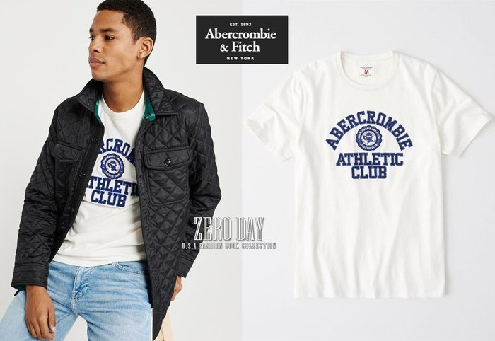 【零時差美國時尚網】A&F真品Abercrombie&Fitch APPLIQUE LOGO TEE美式短袖T-白色