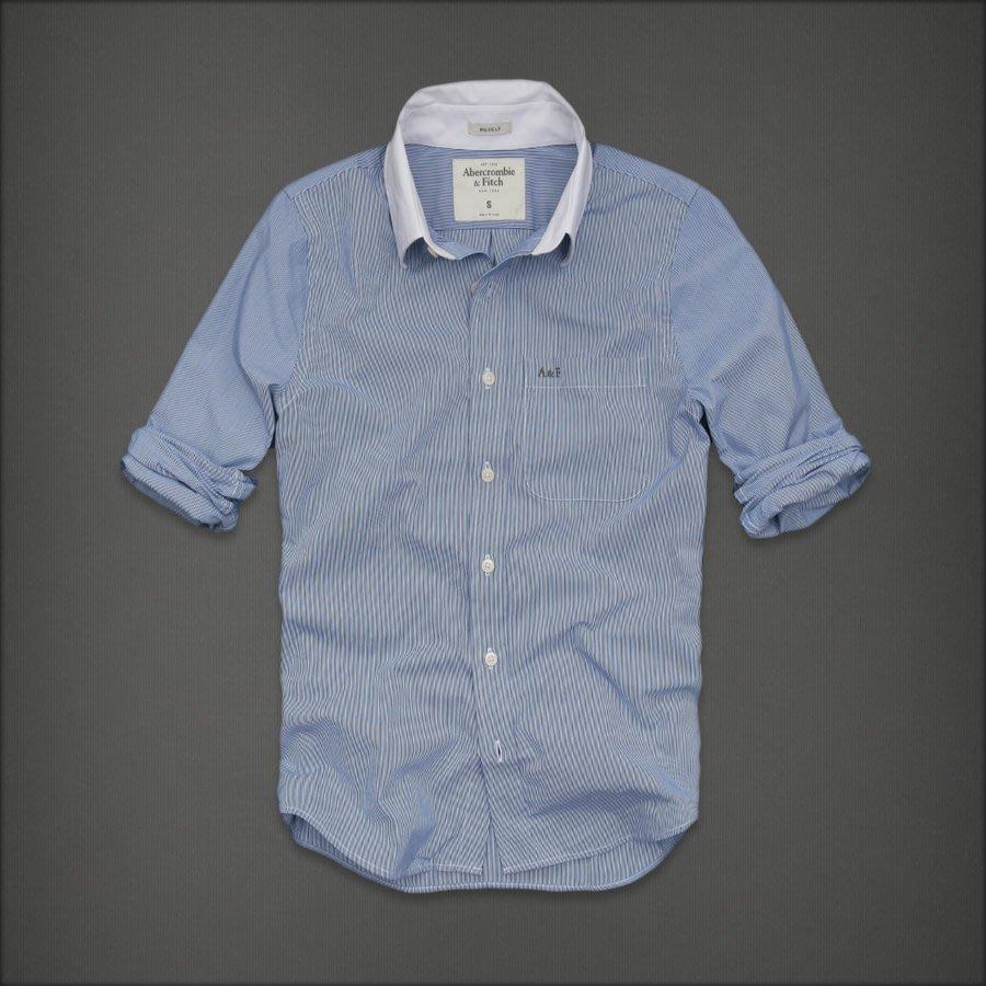 美國AMPM【現貨S144】AF  A&F 男版旗艦店款男版長袖藍色細條紋襯衫 M號