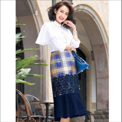 【WildLady】 特 日本氣質高質感花朵蕾絲荷葉擺編織格高腰中長裙chesty