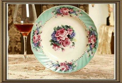 粉紅玫瑰精品屋~歐式高檔象牙瓷描金8吋...