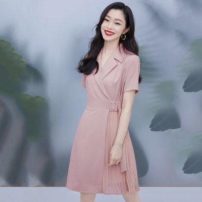 【宋軼同款】【心動的offer】LILY春新款女裝百褶短袖西裝連衣裙百貨雜鋪店