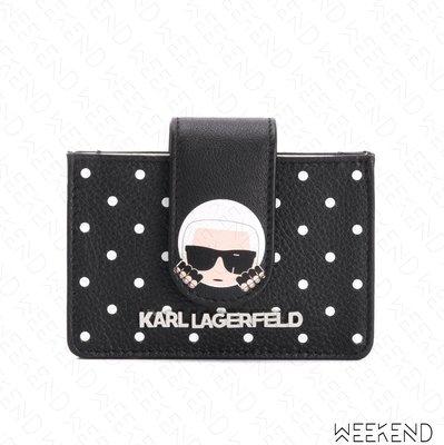 【WEEKEND】 KARL LAGERFELD Polka Dot 卡爾 波卡圓點 皮夾 卡夾 19秋冬