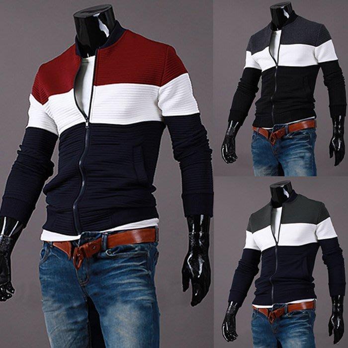 『潮范』 W02 新款男士拼色修身外套夾克 棉質立領外套 運動外套 棒球外套 運動服NRB607