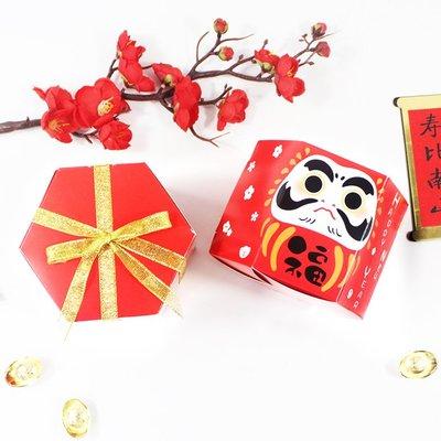 ▪5入▪新年達摩六邊形包裝盒/雪花酥牛軋糖鳳梨酥包裝盒紙盒/新年節慶小禮盒/六角特種白卡紙點心紙盒