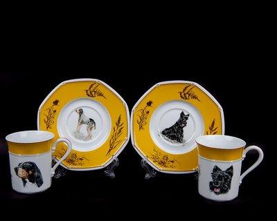 *JAZZ 棧 * 正品HERMES愛馬仕獵犬系列八角咖啡杯2客