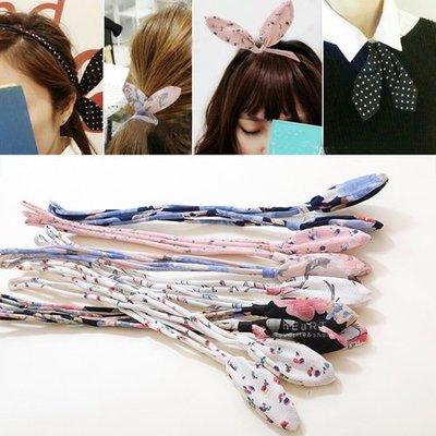 【可愛村】絹紗碎花蝴蝶結雙層髮帶 髮飾 髮箍 髮繩 鐵絲髮帶